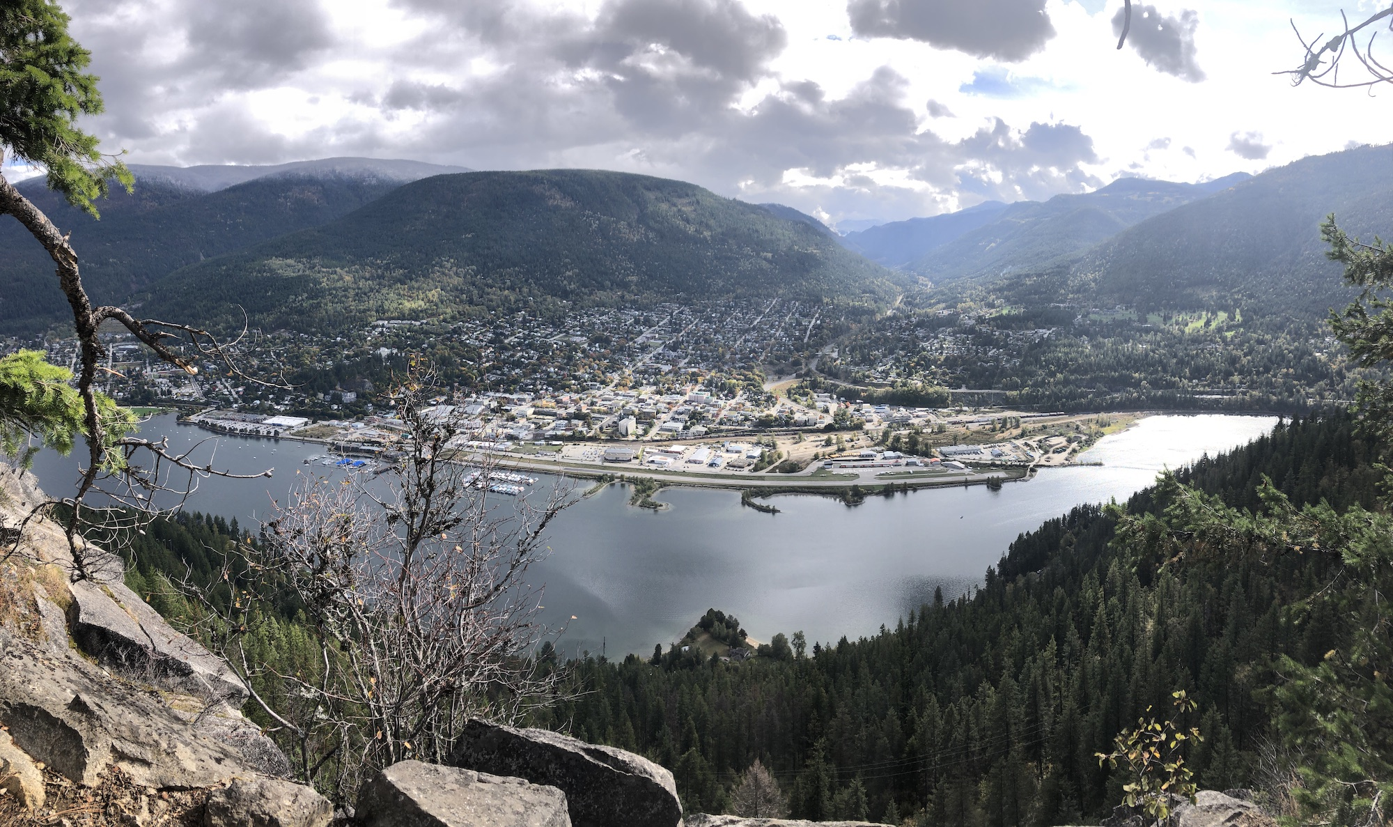 The town of Nelson from Pulpit Rock hike across Kootenay Lake.